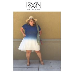 RWN Blue & White Dip Dye Ombré Tencil Dress 3X